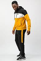Спортивный костюм мужской тонкий (весна-лето-осень) c капюшоном горчичный