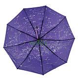 Жіночий напівавтомат зонт з внутрішнім малюнком Зоряне небо складаний Фіолетовий Lantana (711-7), фото 2