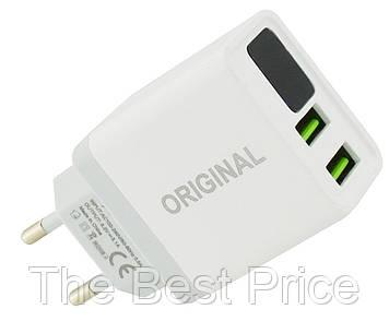 Сетевое зарядное устройство 3.1A 2 USB c экраном QC03