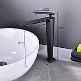 Змішувач дизайнерський для раковини кран у ванну одноважільний WanFan люкс якості Чорний, фото 2
