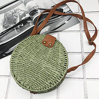 Плетена сумка з соломи 18 см (Зелений)
