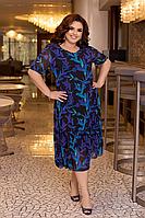 Нарядное летнее шифоновое платье на подкладке с цветочным принтом больших размеров 52,54,56,58 Черное