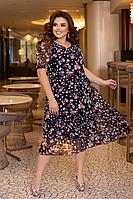 Нарядное летнее шифоновое платье на подкладке с цветочным принтом больших размеров 54,56,58 Темно-синее