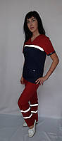 Женский костюм Скорой помощи двухцветный хлопок короткий рукав