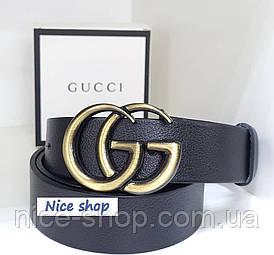 Ремінь Gucci шкіряний чорний з золотою матовою пряжкою, 3.7 см