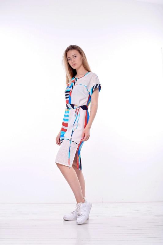 Платье женское Лара летнее белое в полоску из натуральной ткани PARI MKPR203