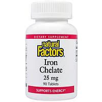 Хелат железа, Natural Factors, 25 мг, 90 таблеток, скидка