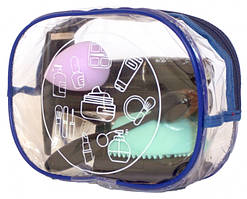 Прозрачная косметичка для путешествий круглая (синий)