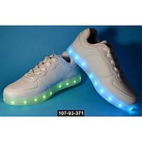 Детские светящиеся кроссовки, USB, 32,34,35,36,37 размер, 11 режимов LED подсветки, супинатор, 107-93-371