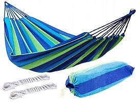 Гамак бавовняний Mexico 100х200см (зелено-синій)