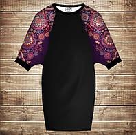 Умное платье с 3D принтом: Индийские орнаменты. Фиолетовый тон