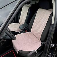 Накидки чехлы на сидения автомобиля из Алькантары Эко-замша универсальные защитные авточехлы Пудровый 2 шт