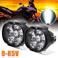 Фара -LED  Круг-мини  10W (1W*6) 12-85V  50*55*95mm  Дальний/Spot (1шт) (пластик.корпус) 6 Led