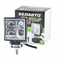 """Фара-LED  Квадрат  12W (3W*4) 10-30V  75*75*49mm  Дальний/Spot """"BELAUTO"""" (BOL0403 QL) 800Lm  (1шт)"""