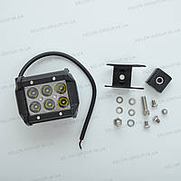 Фара-LED  Квадрат  18W (3W*6) 10-30V   95*75*60mm  Дальний/Spot Cree-имитация,Отражатель Черный