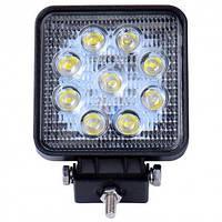 Фара-LED  Квадрат  27W (3W*9) 10-30V  105*126*20mm  Дальний/Spot (001 B 27W) (1шт) - плоский   3375