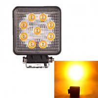 Фара-LED  Квадрат  27W (3W*9) 10-30V  110*110*50mm  Дальний/Spot (06-27W Yellow) (1шт) / Желтая   2