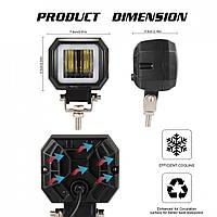Фара-LED  Квадрат  20W (10W*2)  Линза с ДХО 10-30V Дальний свет 95*73*60mm (оранж.упаковка) 1шт