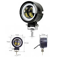 Фара-LED  Круг  20W (10W*3) Ø 175*60mm Линза с ДХО 10-30V/20W 7000K (1шт) Y20W 3 630