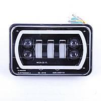 Фара-LED  прямоугол  75W (15W*5) 10-30V 150*90*65mm Ближний-Дальний-Поворот Неон кольцо+Линза 01-75W