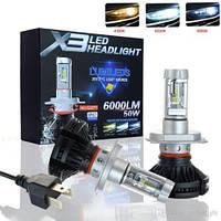 """Лампа LED H4 радіатор 6000Lm """"LumiLeds"""" X3 /Philips ZES/50W/6000K(плівки в к-ті)/IP67/9-32v (2шт)"""
