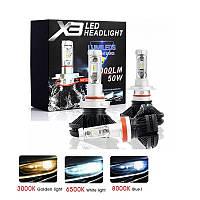 """Лампа LED H4 радіатор 6000Lm """"LumiLeds"""" X3 /Philips ZES/50W/6000K(плівки в к-ті)/IP67/9-32v (2шт) 9м"""