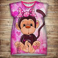 Платье-туника с 3D принтом: Веселые обезьянки Розовый. Взрослые и Детские размеры