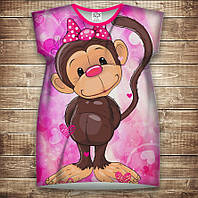 Платье-туника с 3D принтом: Веселые обезьянки Розовый 2. Взрослые и Детские размеры