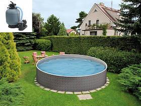 Круглый сборной бассейн Azuro Ratan Ø 5 м, глубина 1.2 м, песочная фильтрационная станция
