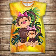 Платье-туника с 3D принтом: Веселые обезьянки Желтый 1. Взрослые и Детские размеры