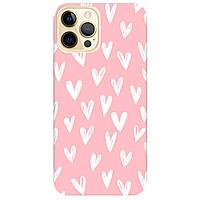 Чохол для Apple iPhone 12 Pro ніжно-рожевий матовий soft touch White hearts