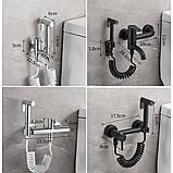Гігієнічний душ для унітазу латунний WanFan змішувач для біде настінний зі шлангом Чорний, фото 3