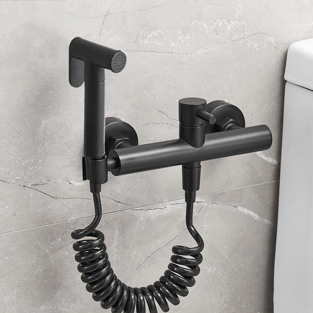 Гігієнічний душ для унітазу латунний WanFan змішувач для біде настінний зі шлангом Чорний