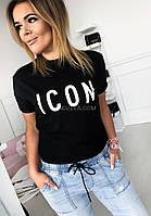 Жіноча футболка з яскравим принтом ICON і рукавом на манжеті, модний одяг з малюнком (чорний, білий, бежевий)