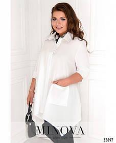 Женская белая рубашка с накладными карманами Размеры  48 50 52 54