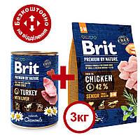 Brit  Premium Senior S + M 3кг- для стареющих собак мелких и средних пород