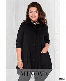Женская черная рубашка с накладными карманами Размеры  48 50 52 54 56-58 60-62