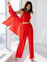 Трендовый свободный костюм: брюки + рубашка красный размеры 42, 44, 46, 48