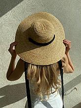 Женская шикарная соломенная шляпа капелюх с широкими полями