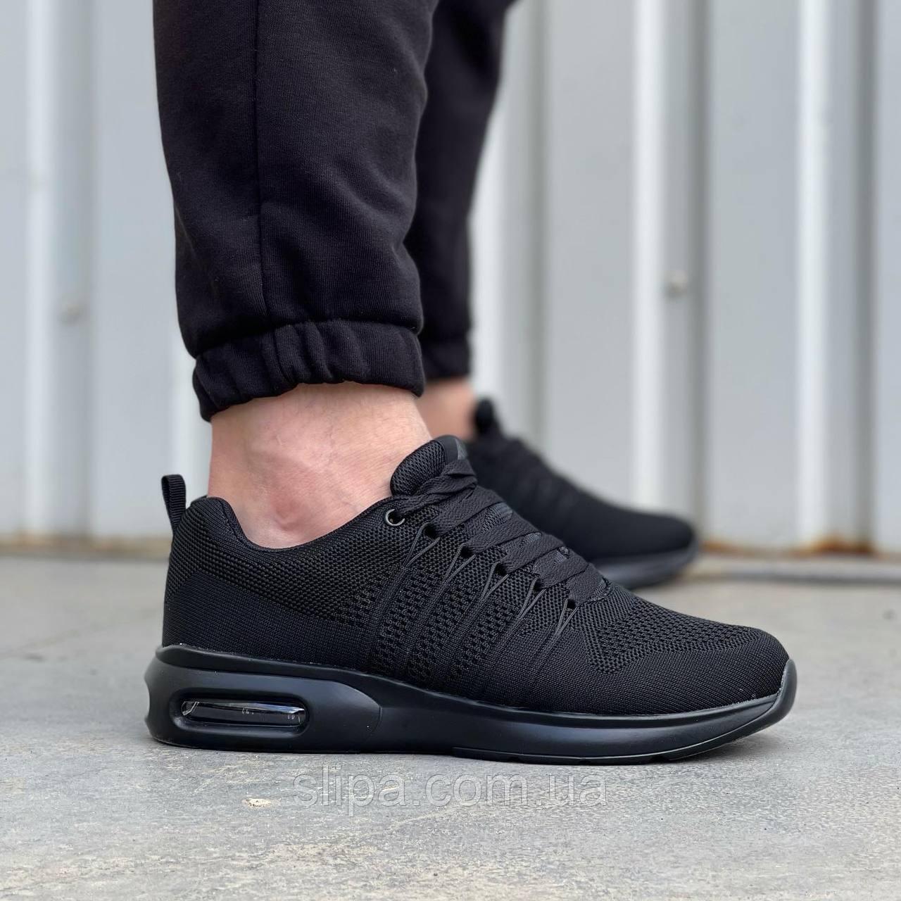 Чорні чоловічі текстильні кросівки Stilli на чорній підошві | текстиль + піна