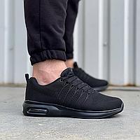 Чорні чоловічі текстильні кросівки Stilli на чорній підошві | текстиль + піна, фото 1