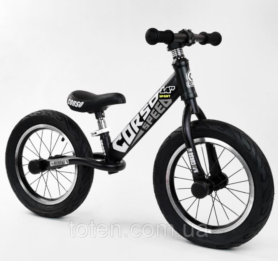 """Велобіг від 14"""" CORSO 65474 сталева рама, колеса надувні, алюмінієві диски. Сидіння регулюється Т"""