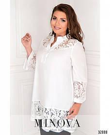Женская белая рубашка с вставками из гипюра Размеры  48 50 52 54 56-58