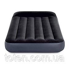 Матрас надувной полуторный INTEX 64142 с подголовником 137-191-25см, черный