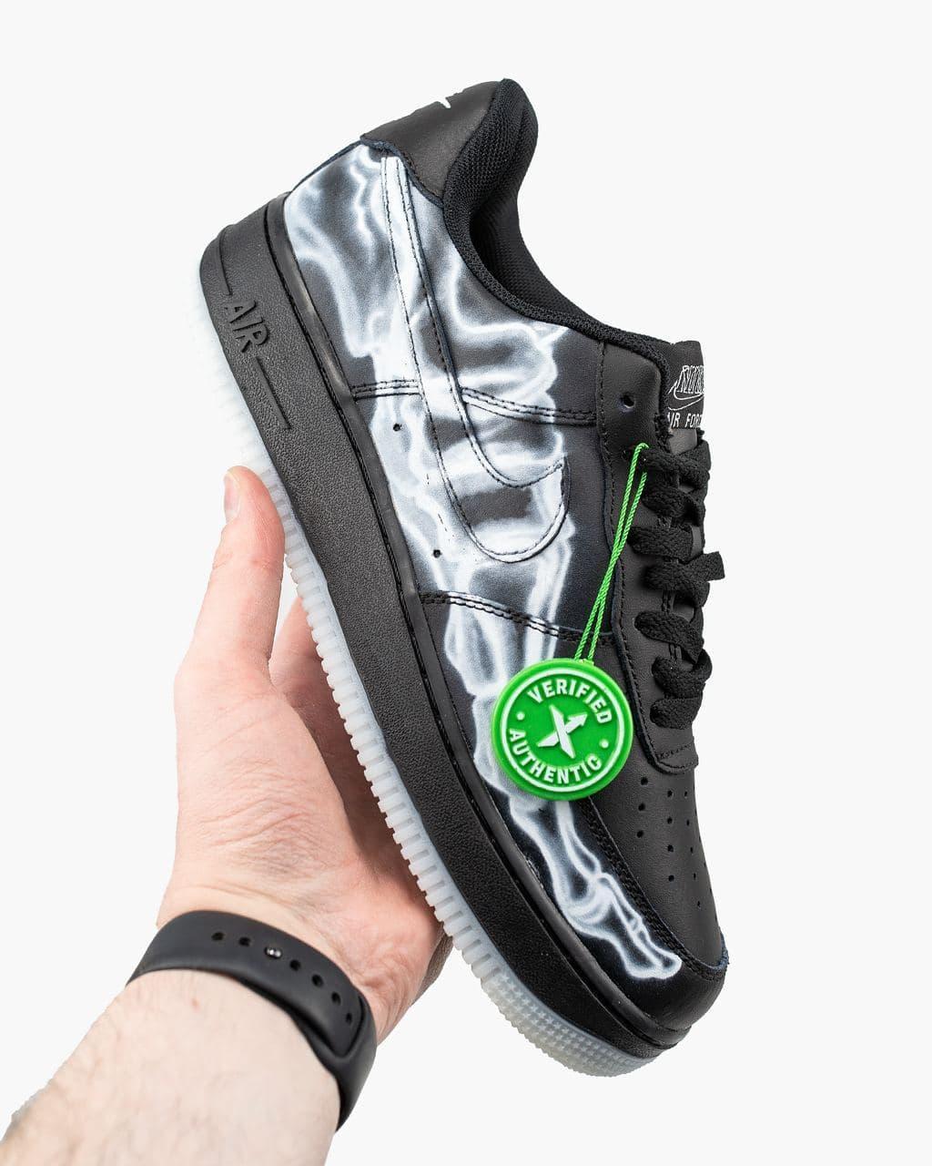 Мужские черные Кроссовки Nike Air Force 1 Skeleton
