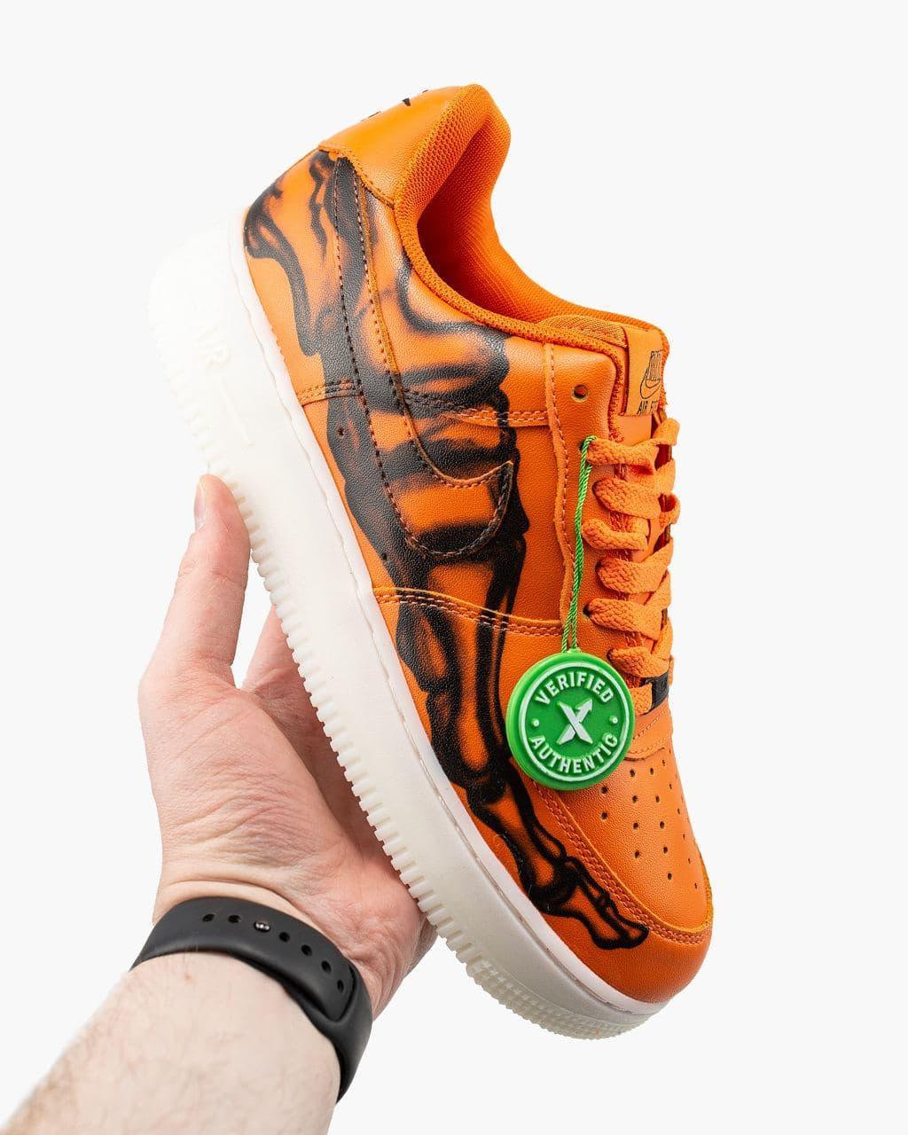 Чоловічі помаранчеві Кросівки Nike Air Force 1 Skeleton