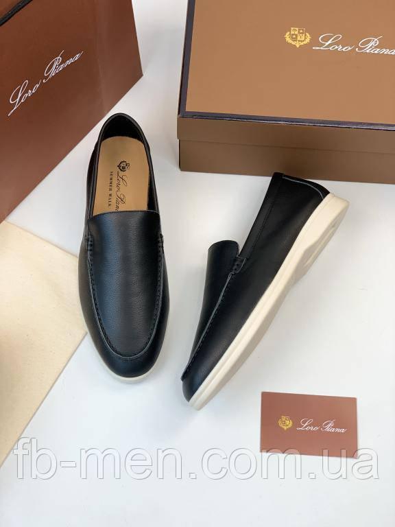 Мокасины мужские Loro Piana Summer Walk черные кожаные  Лоферы кожаные Loro Piana (Лоро Пиана) черные мужские