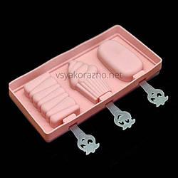 Силиконовая форма для мороженого  (3 порций) / Силіконова форма для морозива