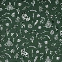 Хлопковая ткань Ботаника зеленая