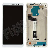 Дисплей для Xiaomi Redmi Note 5, Note 5 Pro с тачскрином и рамкой в сборе, цвет белый, копия высоког